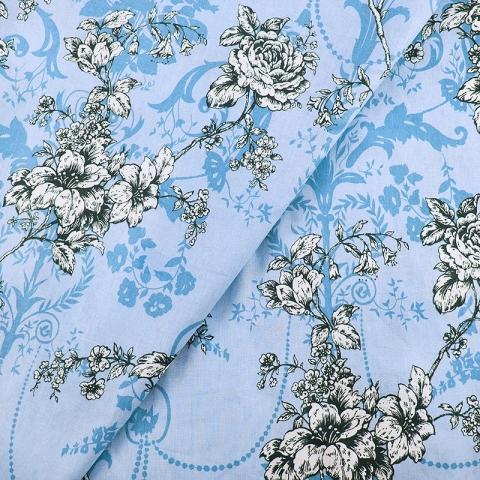 Маломеры бязь о/м 120 гр/м2 150 см 343/3 Прованс цвет голубой 0.7 м