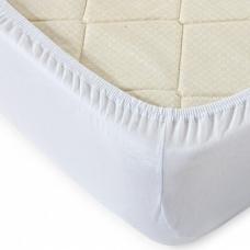 Простыня трикотажная на резинке цвет белый 90/200/20 см