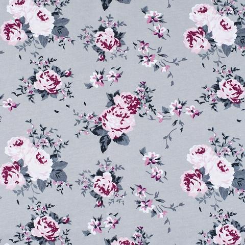 Ткань на отрез кулирка карде Цветы на сером R9013-V9