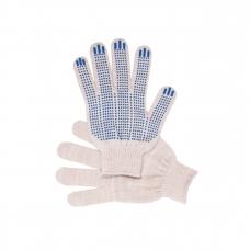 Перчатки рабочие с ПВХ 10-й класс белые 4-х нитка (Точка)