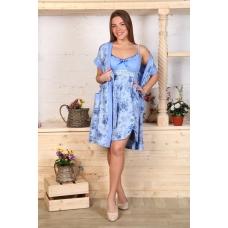 Комплект халат Кимоно и сорочка Царица розы на голубом А20 р 46
