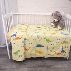 Пододеяльник детский из бязи 464-3 Дино желтый, 110х145 см