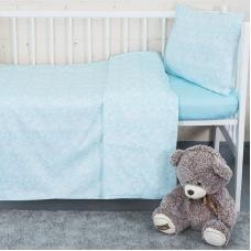Постельное белье в детскую кроватку с простыней на резинке KT37 сатин
