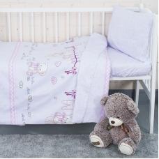 Постельное белье в детскую кроватку с простыней на резинке KT25 сатин