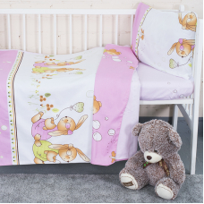Постельное белье в детскую кроватку с простыней на резинке KT16 сатин