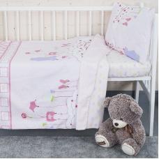 Постельное белье в детскую кроватку с простыней на резинке KT26 сатин