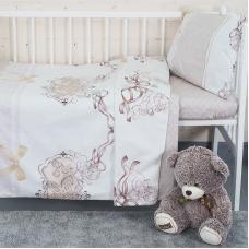 Постельное белье в детскую кроватку с простыней на резинке KT12 сатин