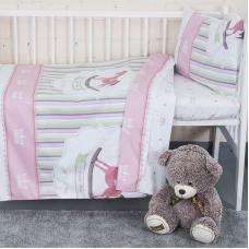 Постельное белье в детскую кроватку с простыней на резинке KT17 сатин