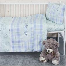 Постельное белье в детскую кроватку с простыней на резинке KT22 сатин