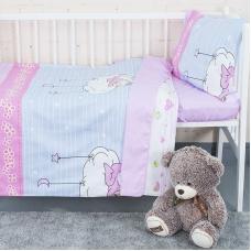 Постельное белье в детскую кроватку с простыней на резинке KT14 сатин