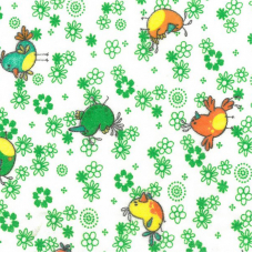 Ткань на отрез фланель белоземельная 90 см 644-2П Птички цвет зеленый