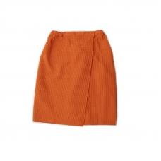 Вафельная накидка на резинке для бани и сауны Премиум женская с широкой резинкой цвет 164 оранжевый