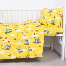 Постельное белье в детскую кроватку 315/5 Слоники с шариками цвет желтый  с простыней на резинке