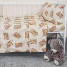 Постельное белье в детскую кроватку 1286/6 Соня бежевый  с простыней на резинке
