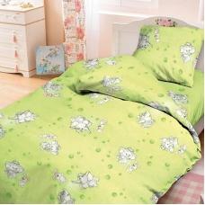 Детское постельное белье из бязи 1.5 сп 1285/3 Мамонтенок зеленый