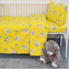 Детское постельное белье из бязи 1.5 сп 1332/4 За медом желтый