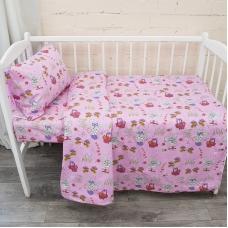 Постельное белье в детскую кроватку из бязи 1304/2 Лесная сказка цвет розовый ГОСТ