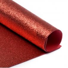 Фоамиран глиттерный 2 мм 20/30 см уп 10 шт MG.GLIT.H001 цвет красный