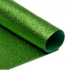 Фоамиран глиттерный 2 мм 20/30 см уп 10 шт MG.GLIT.H009 цвет зеленое яблоко