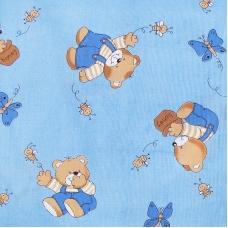 Ткань на отрез бязь 120 гр/м2  детская 150 см 1332/1 За медом цвет голубой