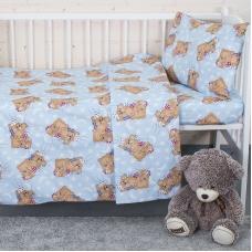 Постельное белье в детскую кроватку из бязи ГОСТ 1286/3 Соня голубой
