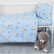 Постельное белье в детскую кроватку 1332/1 За медом голубой с простыней на резинке