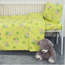 Постельное белье в детскую кроватку из бязи 1332/2 За медом салатовый с простыней на резинке