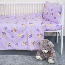 Постельное белье в детскую кроватку 1332/3 За медом сиреневый с простыней на резинке