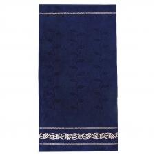 Полотенце велюровое Европа 50/90 см цвет синий с вензелями