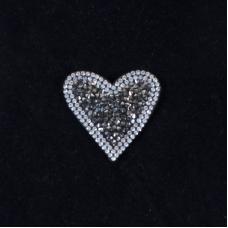 Термоаппликация ТАС 106 сердце темное серебро