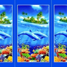 Вафельное полотно набивное 150 см 326/1 Дельфины цвет голубой