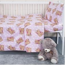 Постельное белье в детскую кроватку из бязи ГОСТ 1286/2 Соня розовый