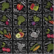 Ткань на отрез вафельное полотно набивное 150 см 3022-3 Фреш-бар цвет черный