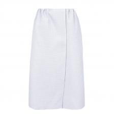 Вафельная накидка на резинке для бани и сауны Премиум женская цвет белый