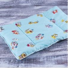 Подушка для новорожденных 40/60 цвет голубой с рисунком