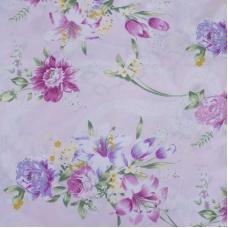 Ткань на отрез Тик 220 см 145 +/- 5 гр/м2 Цветная роза цвет розовый 005