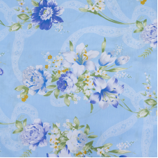 Ткань на отрез Тик 220 см 145 +/- 5 гр/м2 Цветная роза цвет голубой 005