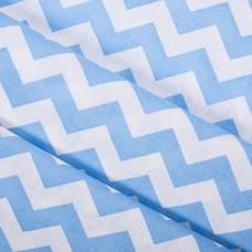 Бязь плательная 150 см 8059/10 Зиг-заг цвет голубой