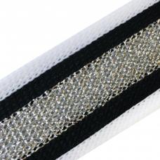 Лампасы №89 черно белые серебро люрекс 2см 1 метр