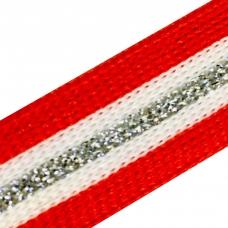 Лампасы №74 красно белые люрекс серебро 2 см 1 метр