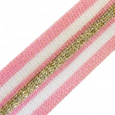 Лампасы №71 Premium розово белые золото люрекс 2.5см 1 метр