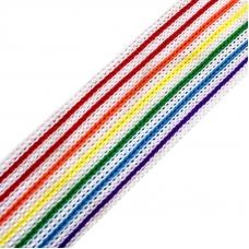 Лампасы №34 белые с разноцветными полосками 2,5см 1 метр