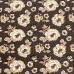 Ткань на отрез кулирка лайкра с глиттером Розы на коричневом R340