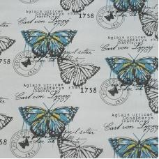 Ткань на отрез лен TBY-DJ-16 Бабочки