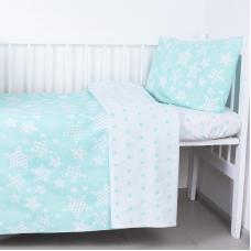 Постельное белье в детскую кроватку из бязи 1556/7А+1683/16 цвет мята