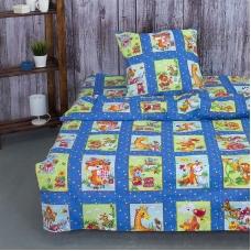Детское постельное белье из бязи 1.5 сп 8088/1 Веселые картинки синий