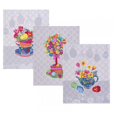 Набор вафельных полотенец 3 шт 45/60 см 3020-3 Пасхальное дерево цвет бежевый