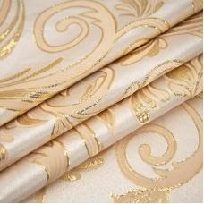 Портьерная ткань с люрексом 150 см на отрез 5222 Вензель цвет персик