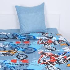 Детское постельное белье из поплина 1.5 сп 10443/1 Мотокросс