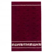 Полотенце велюровое Европа 50/90 см цвет бордовый с вензелями